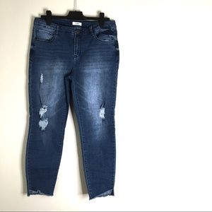 Kensie Distressed Raw Hem Skinny Jeans